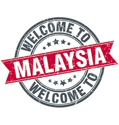 Welcome to malaysia red round vintage stamp vector