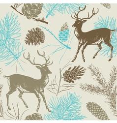 Vintage Deer Forest Pattern vector image