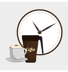Coffee and watch isolated icon design vector