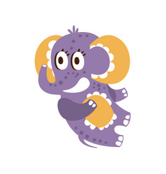 Adorable cartoon baby elephant character lying on vector