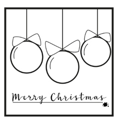 Black and White Christmas ornaments vector image