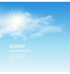 Blue sky background with tiny clouds vector