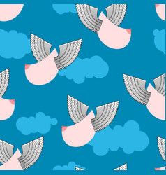 boobs with wings flying pattern flying tit vector image