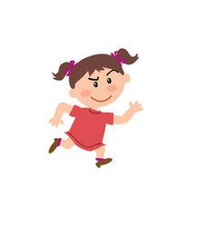 cartoon character girl running vector image vector image