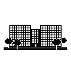 Contour city scene and buildings with trees line vector