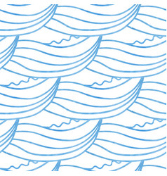 Cute waves hand drawn seamless pattern can be vector