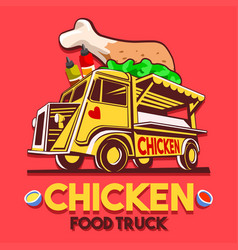 Food truck crispy fried chicken wings fast vector