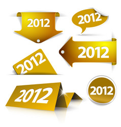 Golden 2012 labels stickers pointers tags vector