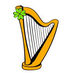 Golden harp and clover icon icon cartoon vector