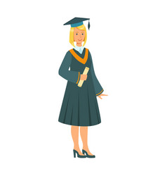 graduate girl in the mantle holding graduation vector image