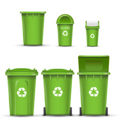 Green recycling bin bucket for glass trash vector