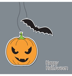 Halloween pumpkin and bat vector image
