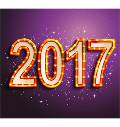 Happy 2017 new year shining retro light vector image vector image
