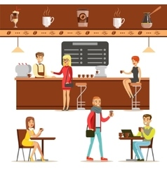 Interior design and happy clients of a coffee shop vector
