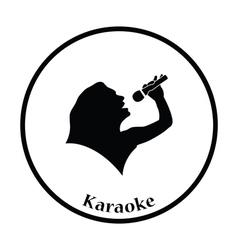 Karaoke womans silhouette icon vector image