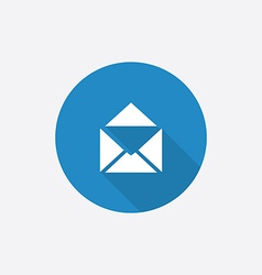 mail Flat Blue Simple Icon with long shadow vector image