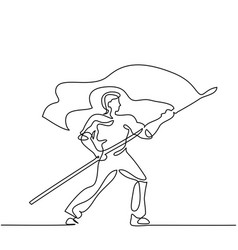 man holding flag continuous line drawing vector image vector image