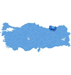 Map of turkey trabzon vector