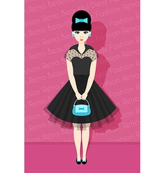 Pretty Retro Girl in Flat Style vector image