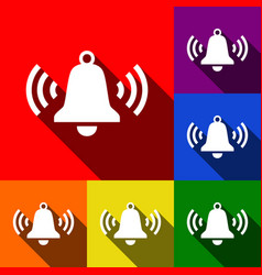 Ringing bell icon set of icons with flat vector