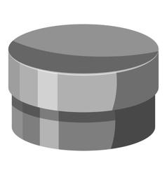 Round jar for cream icon gray monochrome style vector