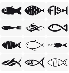 Set of creative black fish icons on white vector image