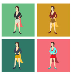 set of super hero woman flat poster in comic style vector image vector image