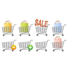Shoppingcart set vector image vector image
