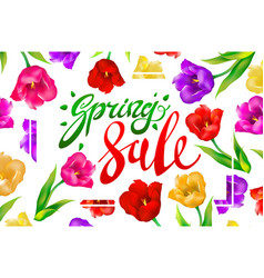 Spring sale banner colotful tulips flowers white vector