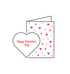 thin line happy valentine day postcard vector image
