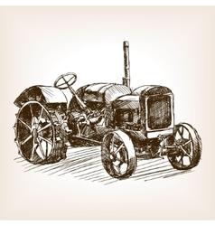 Tractor hand drawn sketch vector image