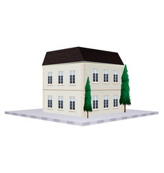 two storey building painted in white vector image vector image