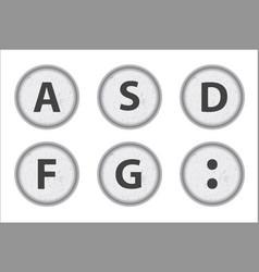 typewriter keys asdfg vector image vector image