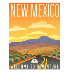 Vintage poster sticker usa new mexico vector