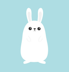 White bunny rabbit funny head face big ears vector