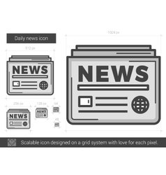 Daily news line icon vector image