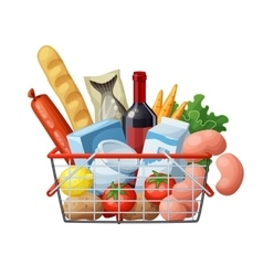 Grocery basket full of food isolated on white vector