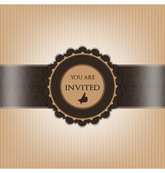 Brown invitation paper decorated with floral vector image