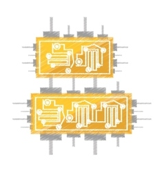 drawing circuit board electronic componet vector image