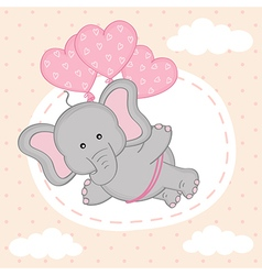 Elephant is flying on balloons vector