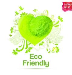 Watercolor eco friendly heart shape drawing vector