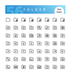 folder line icons set vector image