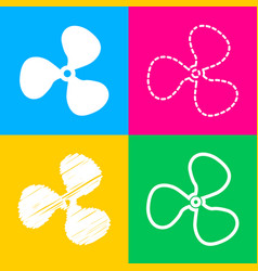 Fan sign four styles of icon on four color vector