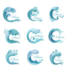 Wave with dropsocean or sea liquid icons or signs vector