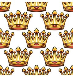 Seamless pattern of medieval royal crowns vector