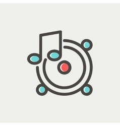 Music tambourine thin line icon vector