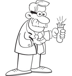 Cartoon scientist holding a test tube vector