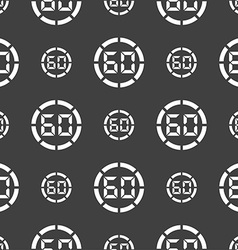 60 second stopwatch icon sign seamless pattern on vector
