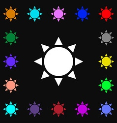 Sun icon sign lots of colorful symbols for your vector