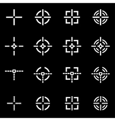White crosshair icon set vector
